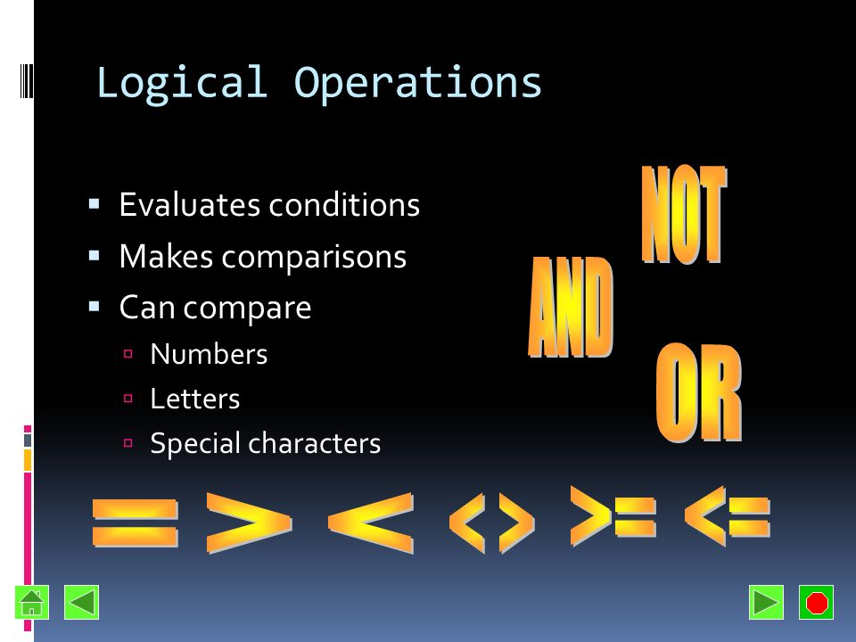 Logical Operations NOT AND OR >= <= > < < > =