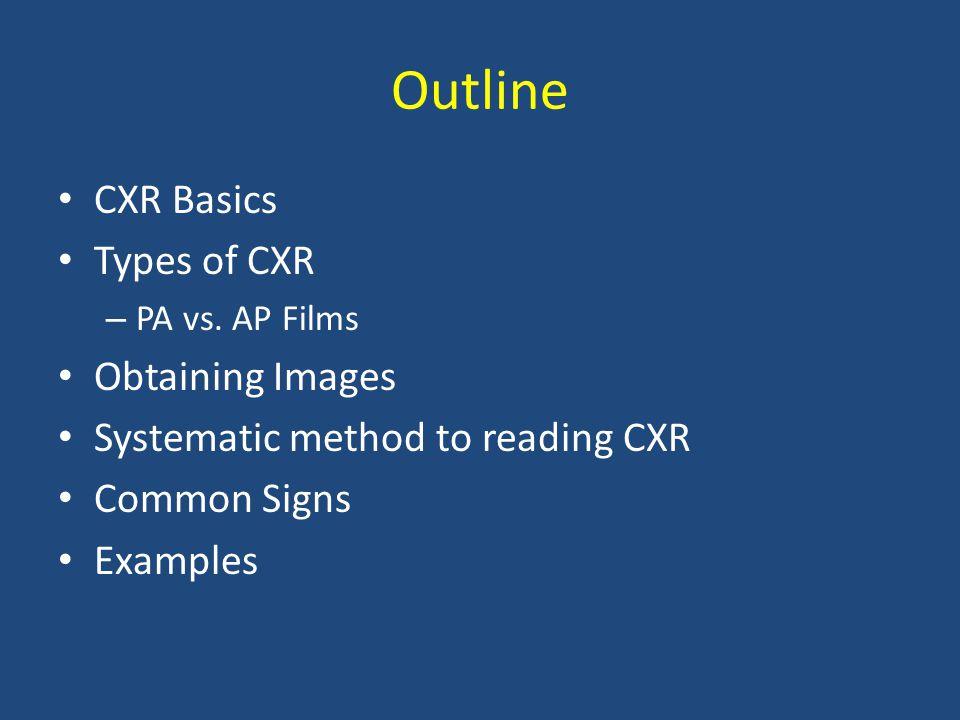 Outline CXR Basics Types of CXR Obtaining Images