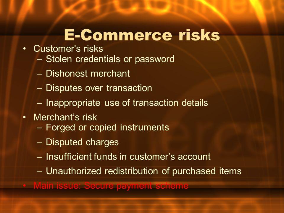 E-Commerce risks Customer s risks Stolen credentials or password