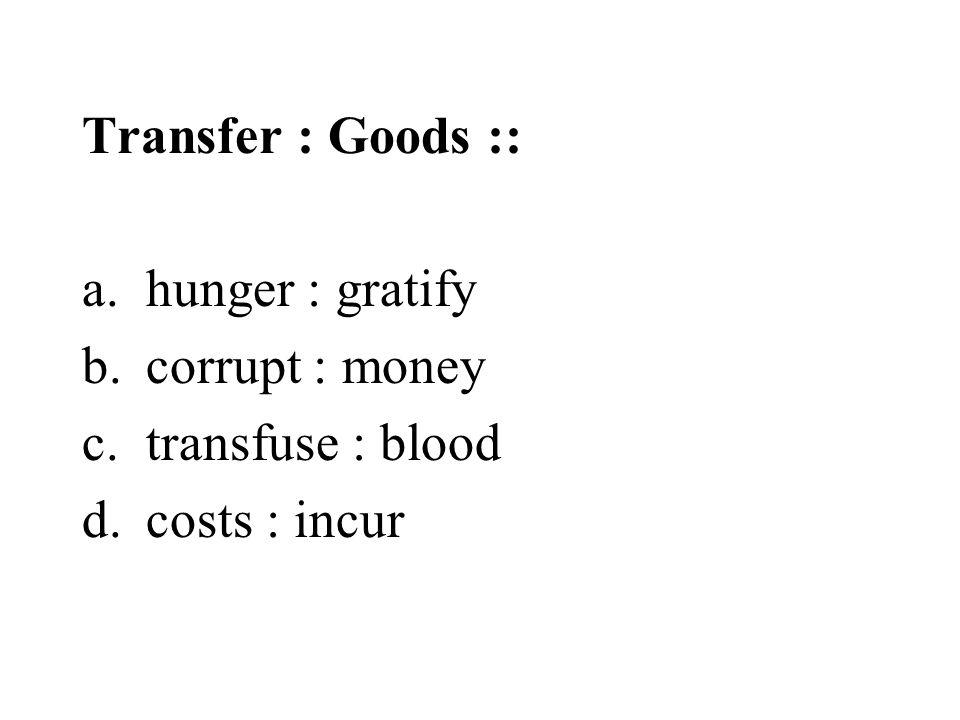 Transfer : Goods :: hunger : gratify corrupt : money transfuse : blood costs : incur
