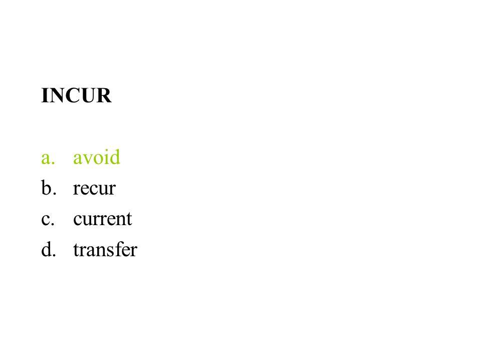 INCUR avoid recur current transfer
