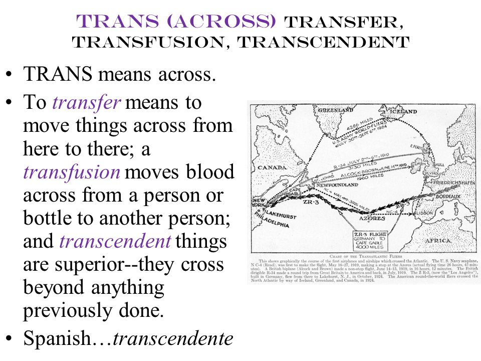 trans (across) transfer, transfusion, transcendent