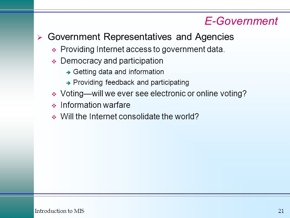 E-Government Government Representatives and Agencies