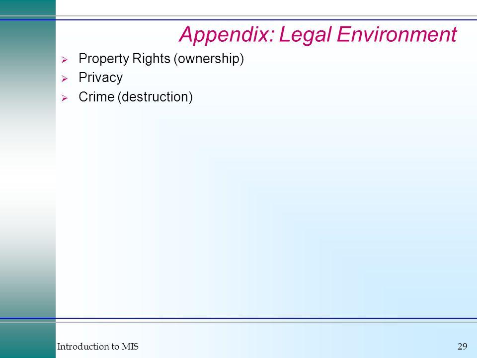 Appendix: Legal Environment