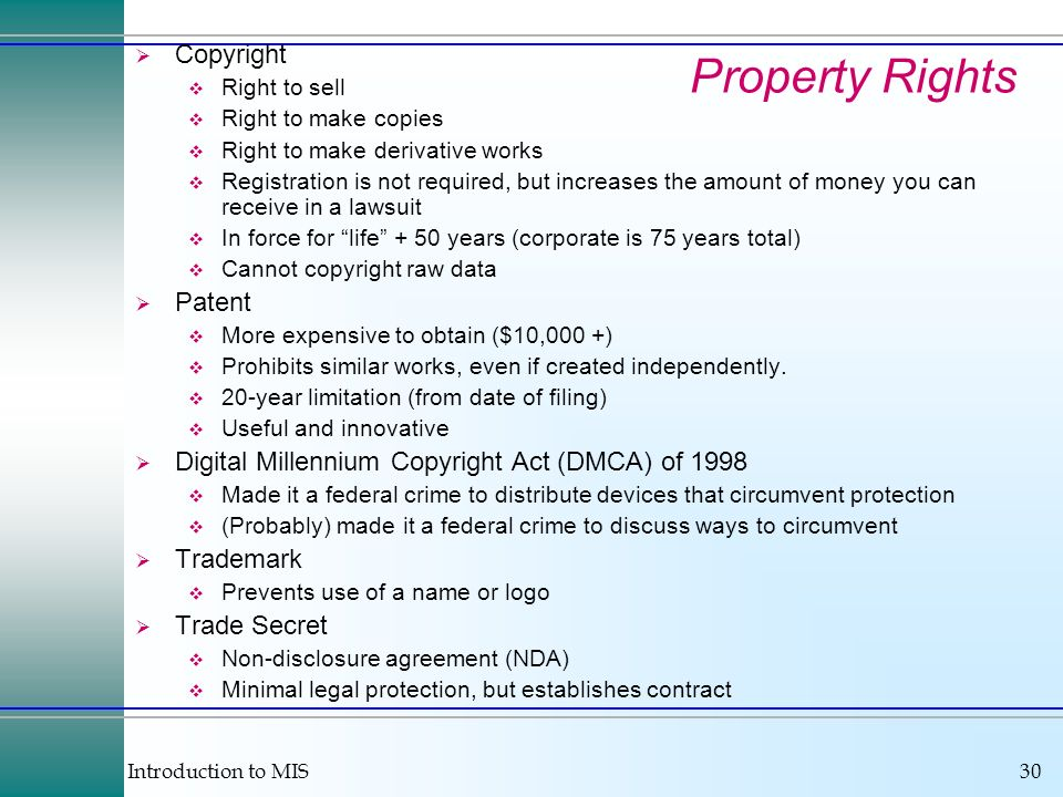 Property Rights Copyright Patent