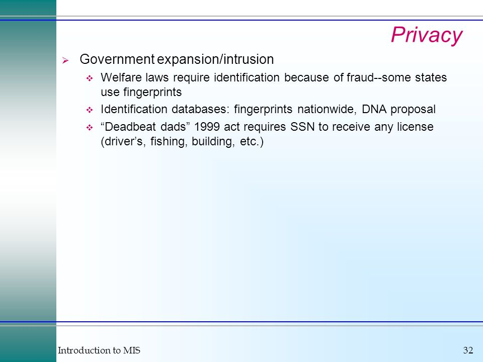 Privacy Government expansion/intrusion