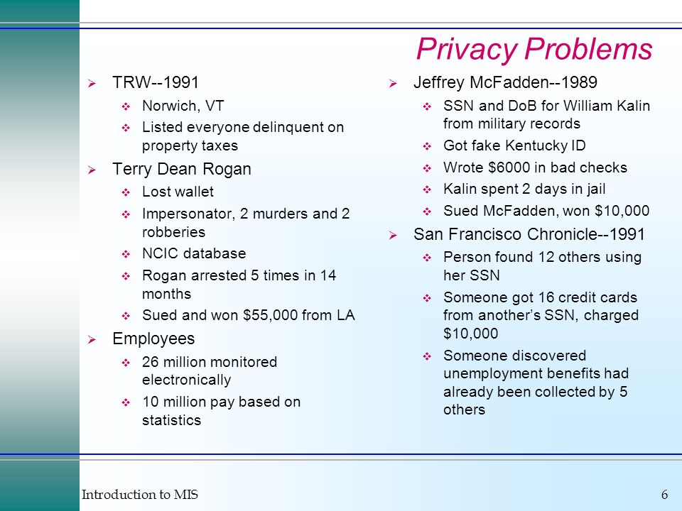 Privacy Problems TRW--1991 Terry Dean Rogan Employees