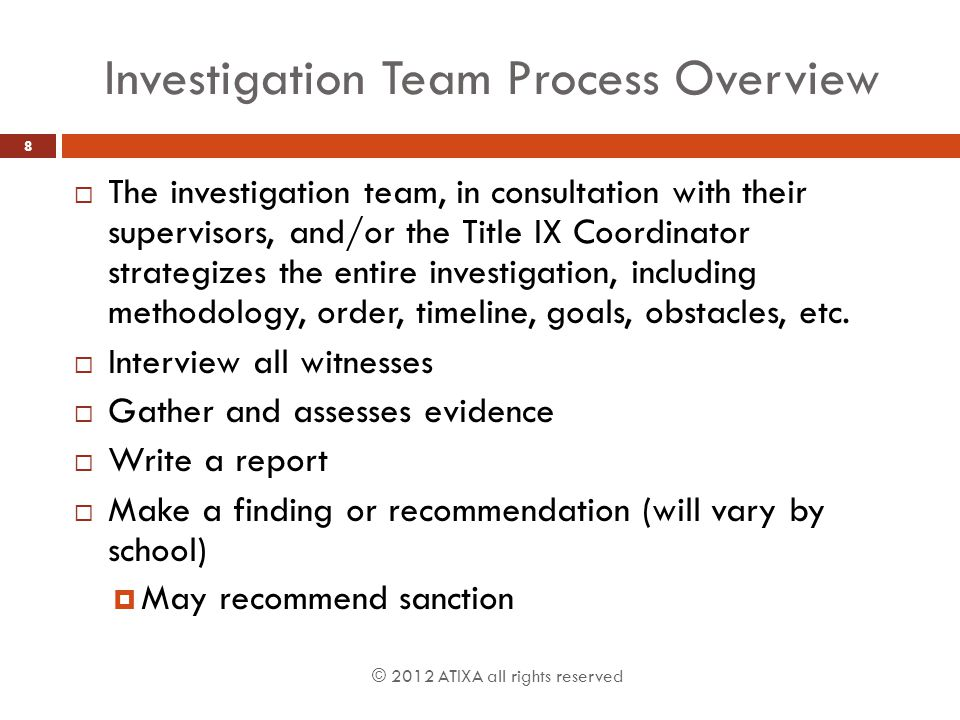 Investigation Team Process Overview