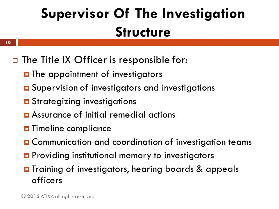 Supervisor Of The Investigation Structure