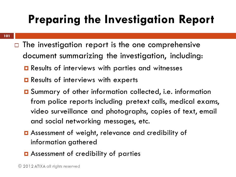 Preparing the Investigation Report