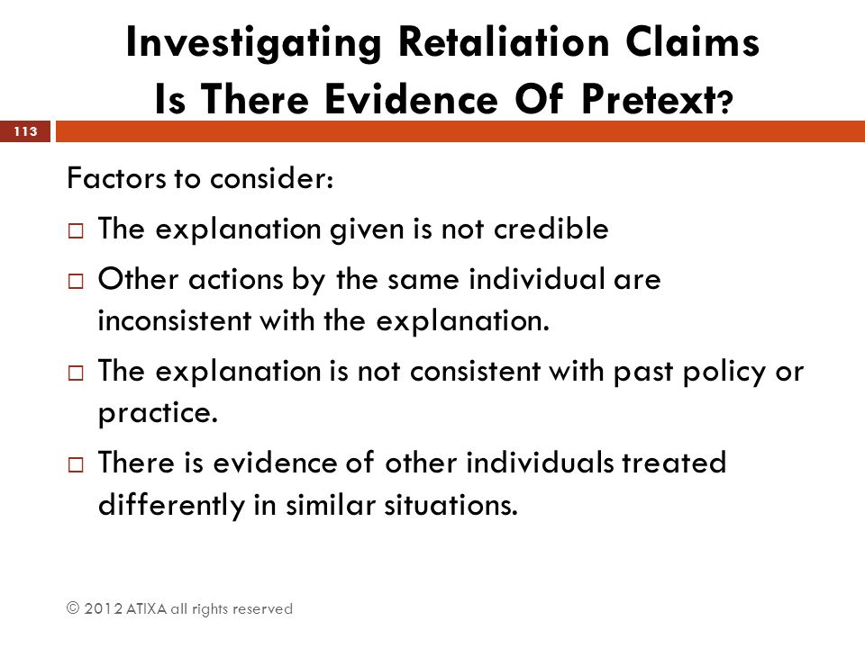 Investigating Retaliation Claims Is There Evidence Of Pretext