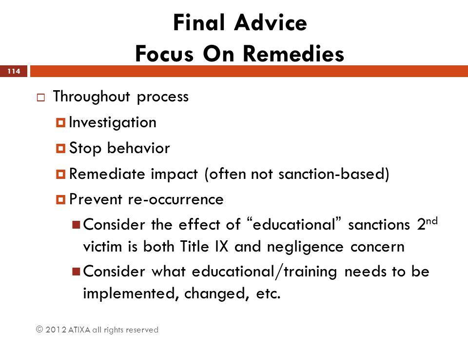 Final Advice Focus On Remedies