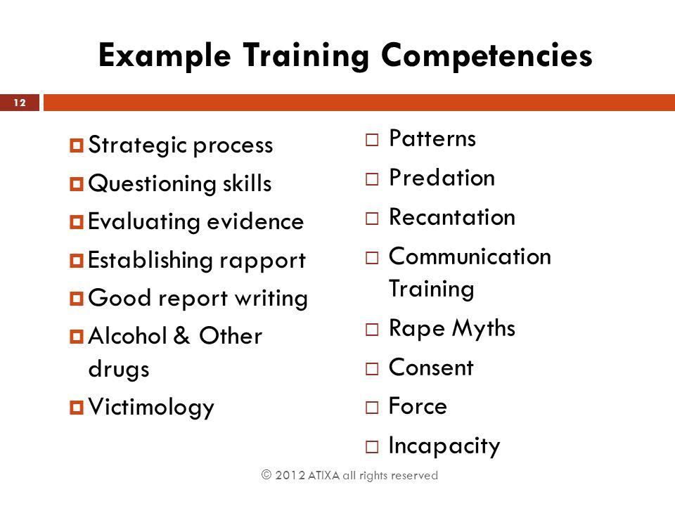 Example Training Competencies
