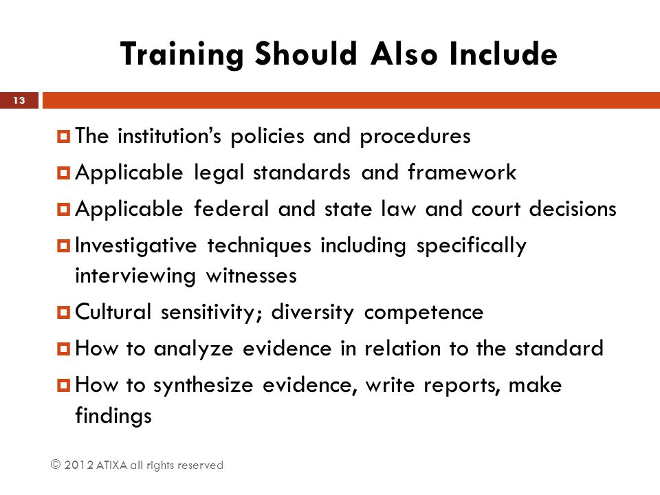 Training Should Also Include