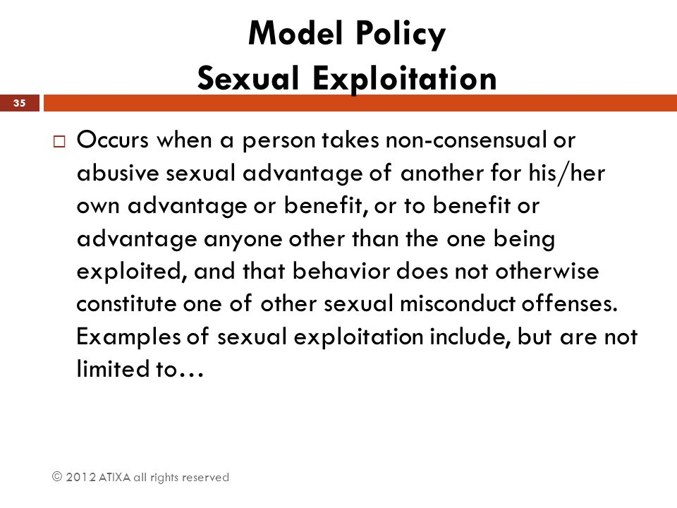 Model Policy Sexual Exploitation