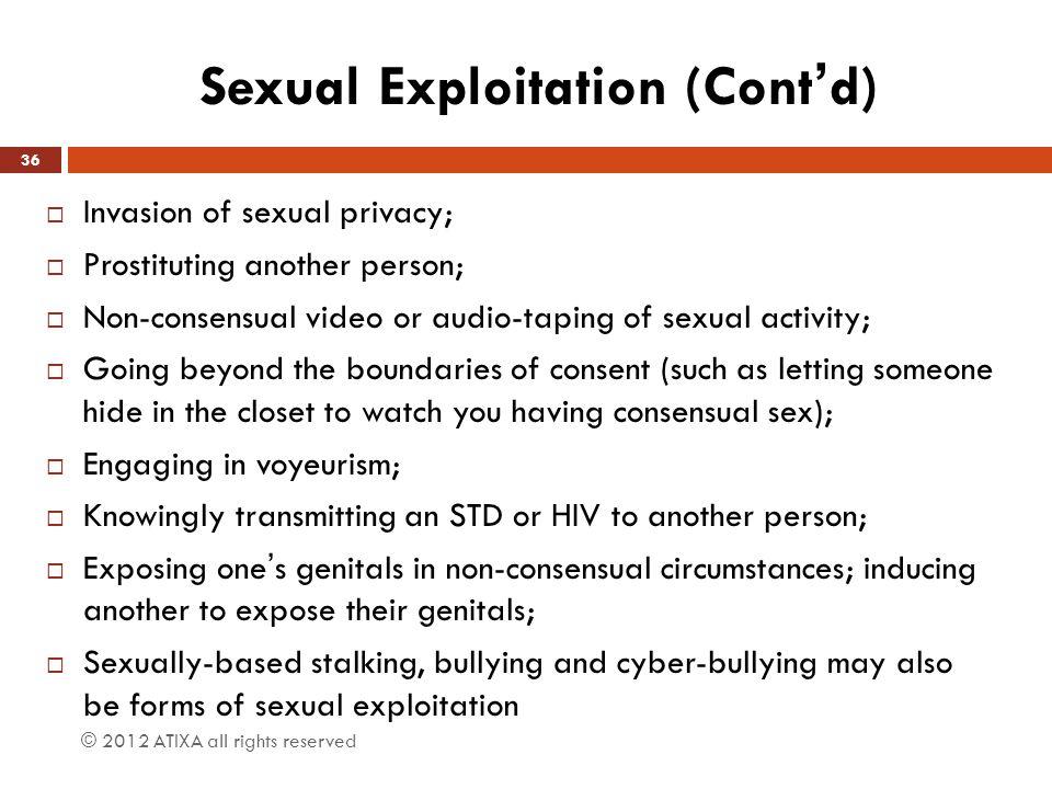 Sexual Exploitation (Cont'd)
