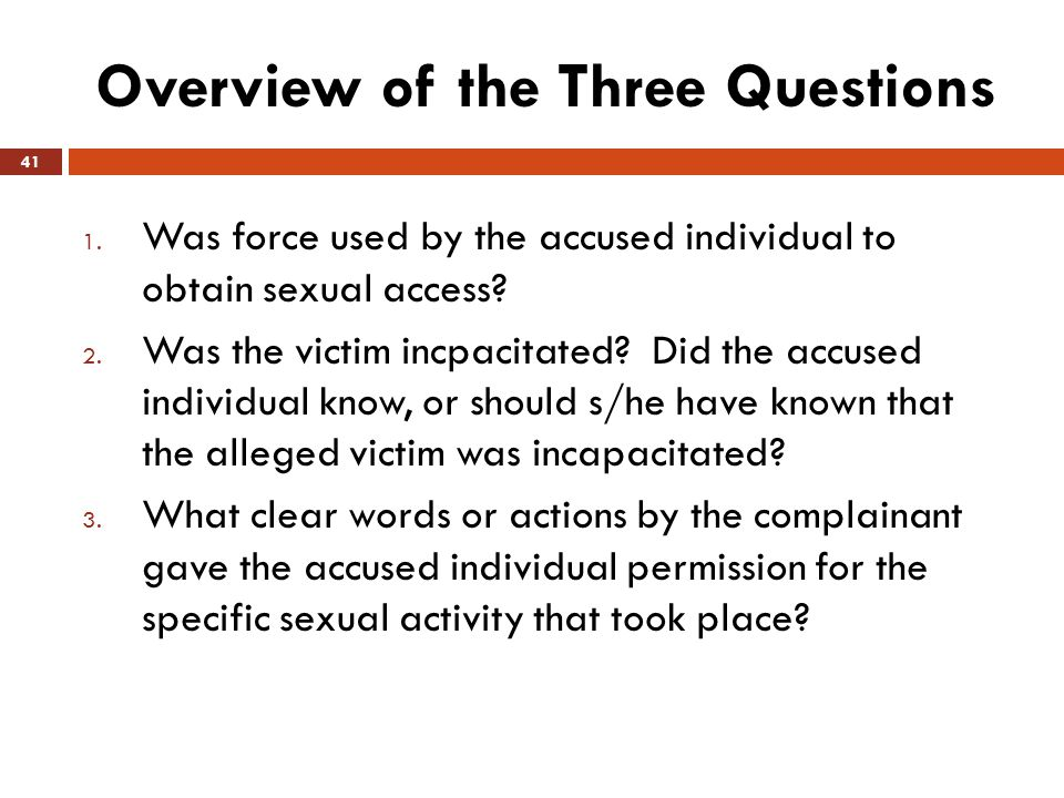 Overview of the Three Questions