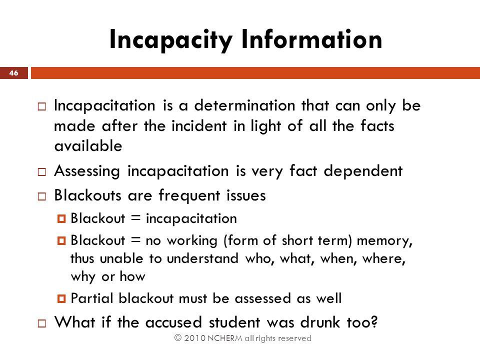 Incapacity Information