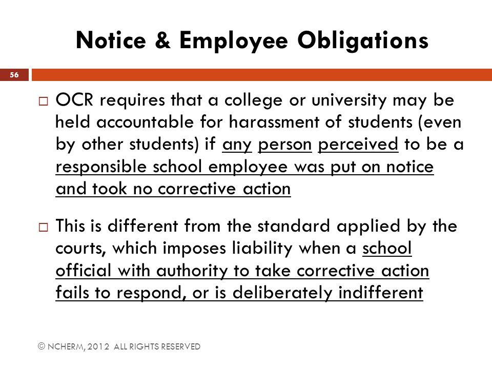 Notice & Employee Obligations