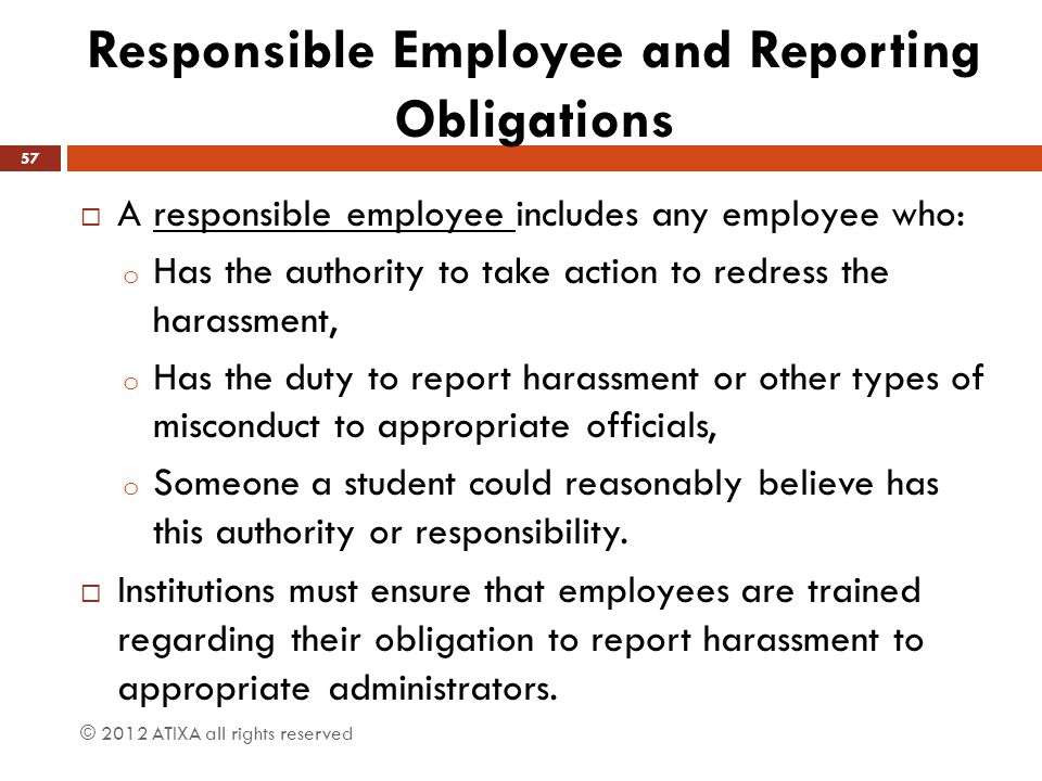 Responsible Employee and Reporting Obligations