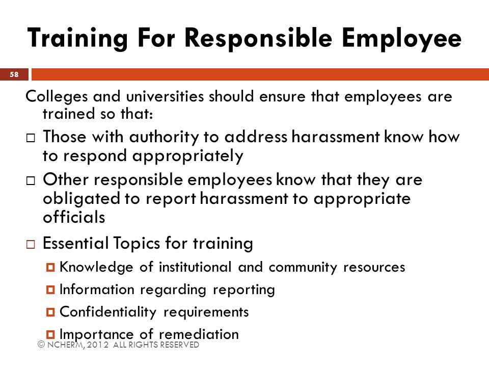 Training For Responsible Employee