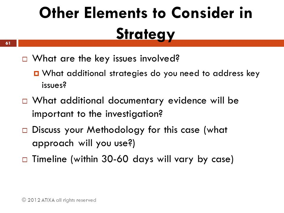 Other Elements to Consider in Strategy
