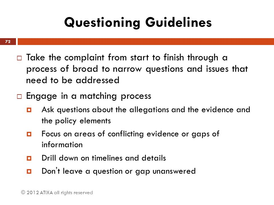 Questioning Guidelines