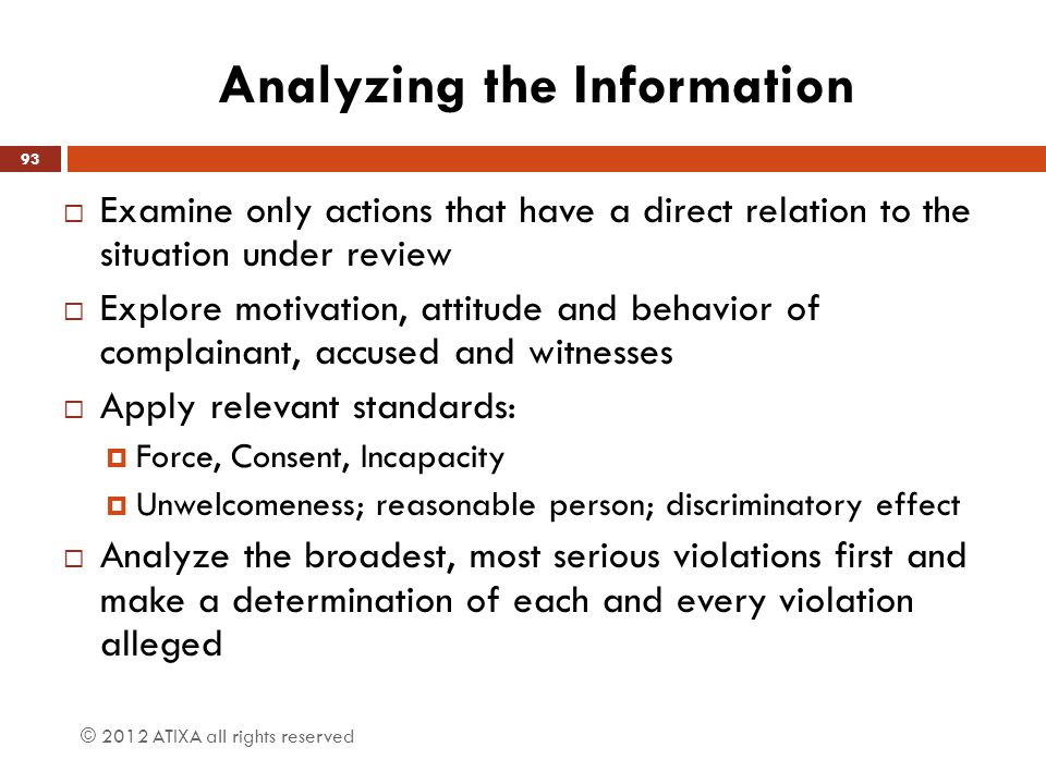 Analyzing the Information