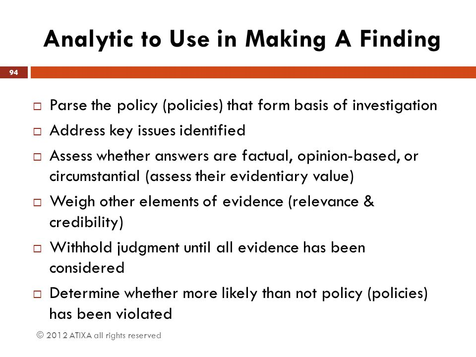 Analytic to Use in Making A Finding