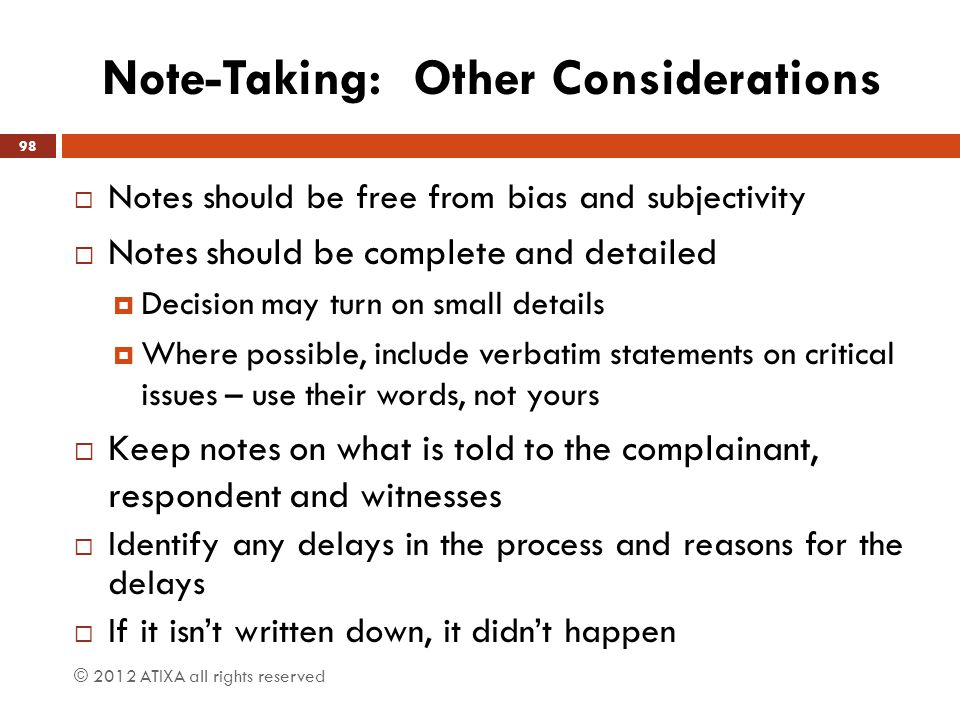 Note-Taking: Other Considerations