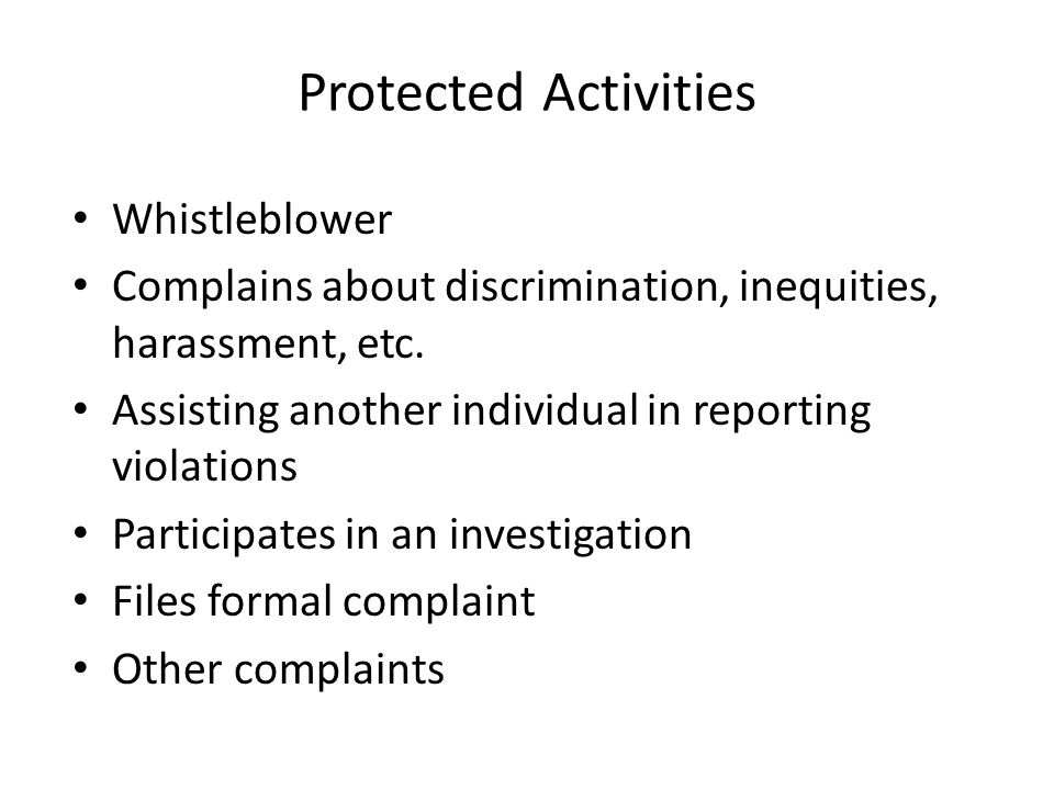 Protected Activities Whistleblower