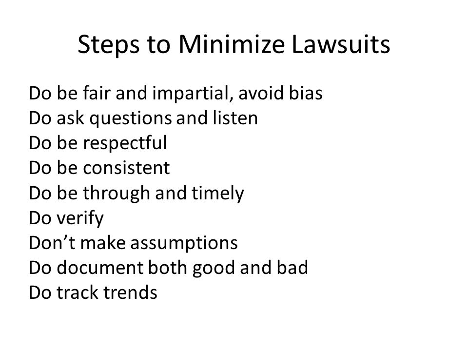 Steps to Minimize Lawsuits