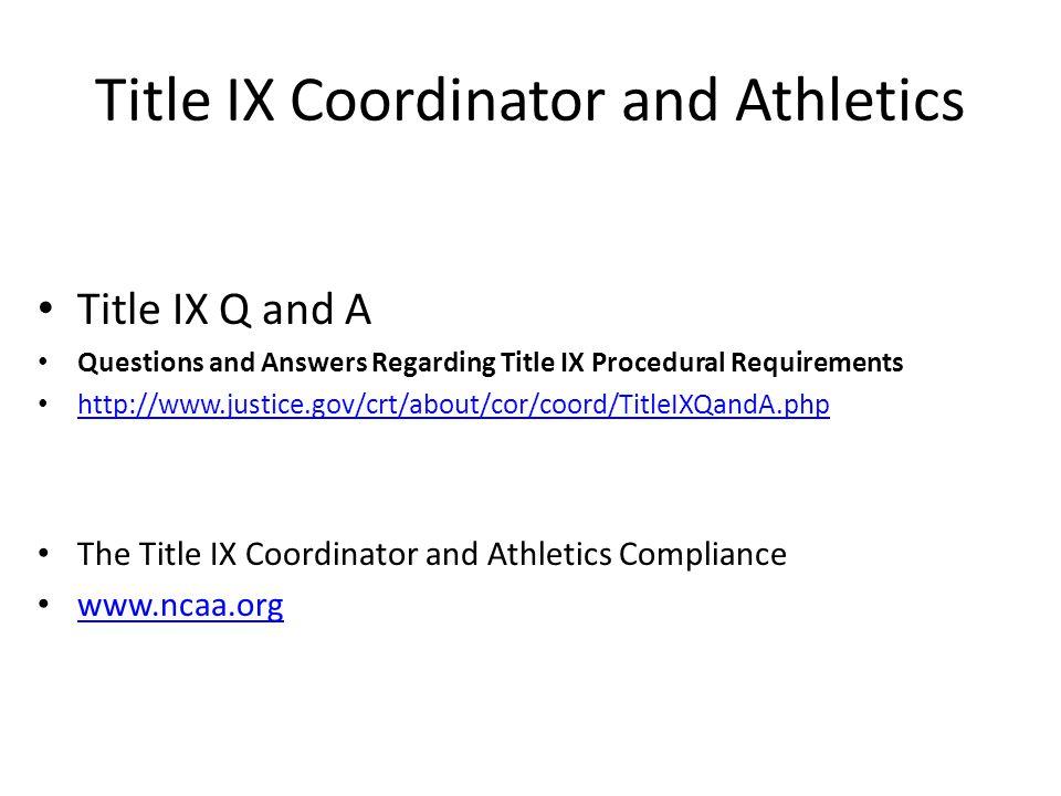 Title IX Coordinator and Athletics