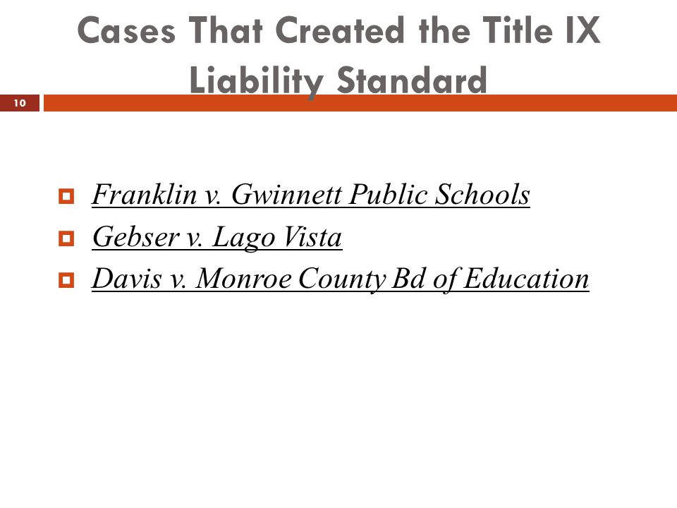 Cases That Created the Title IX Liability Standard