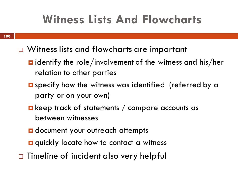 Witness Lists And Flowcharts