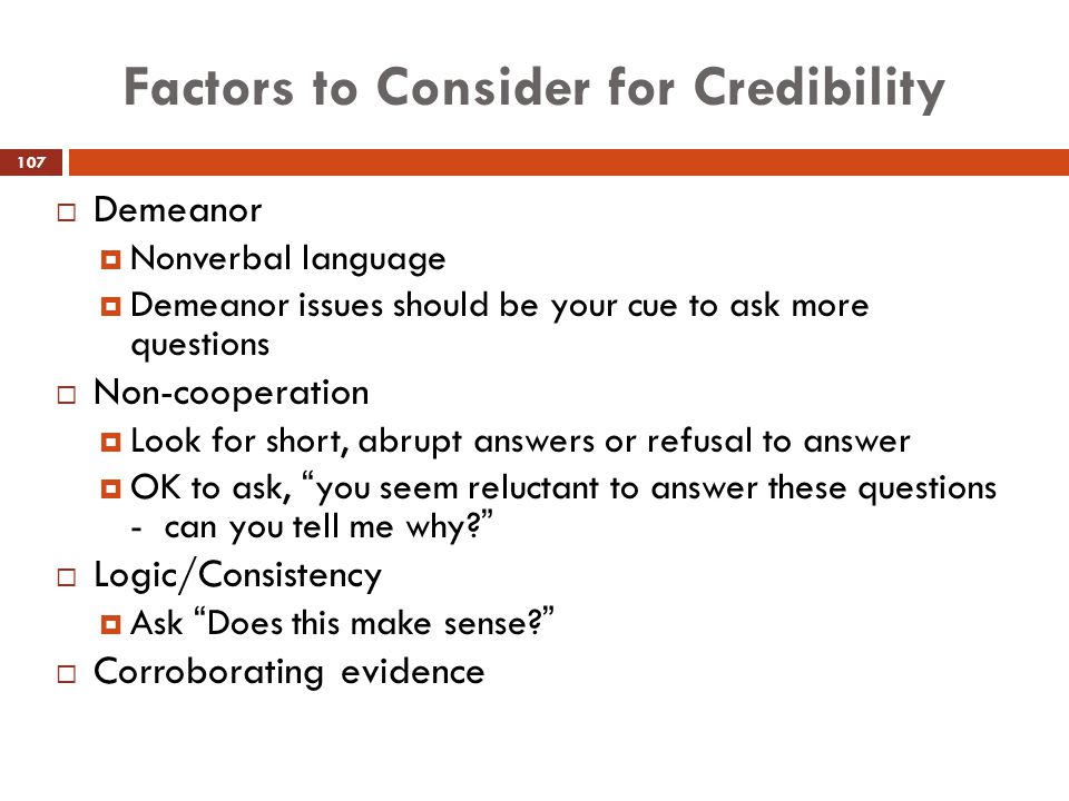 Factors to Consider for Credibility