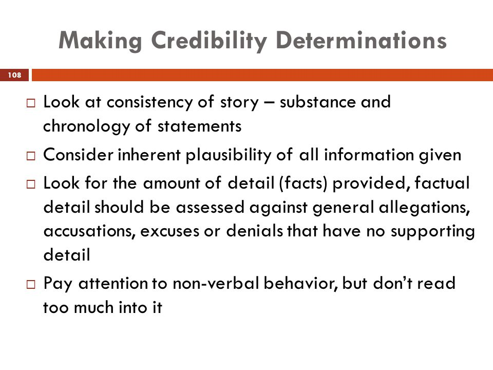 Making Credibility Determinations