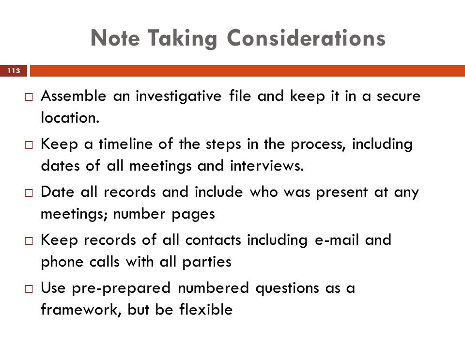 Note Taking Considerations