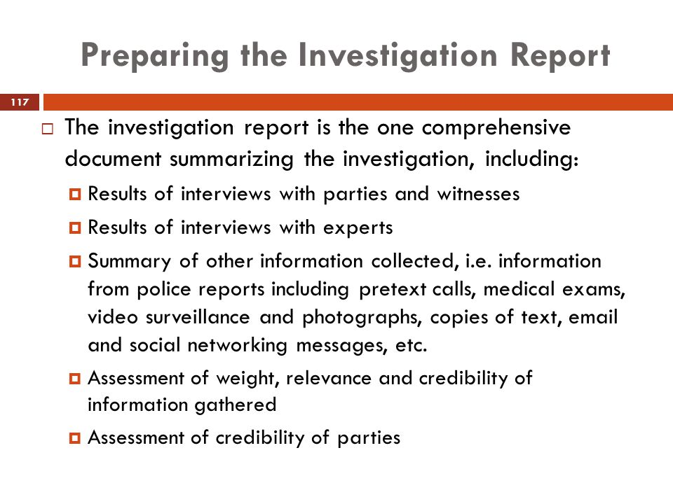 Preparing the Investigation Report