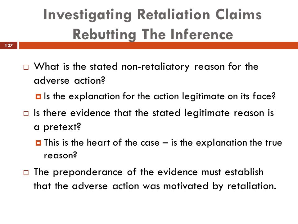 Investigating Retaliation Claims Rebutting The Inference