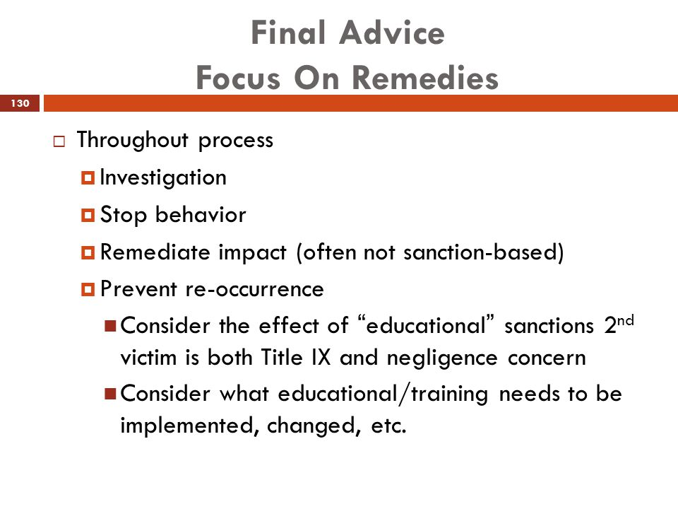 Final Advice Focus On Remedies