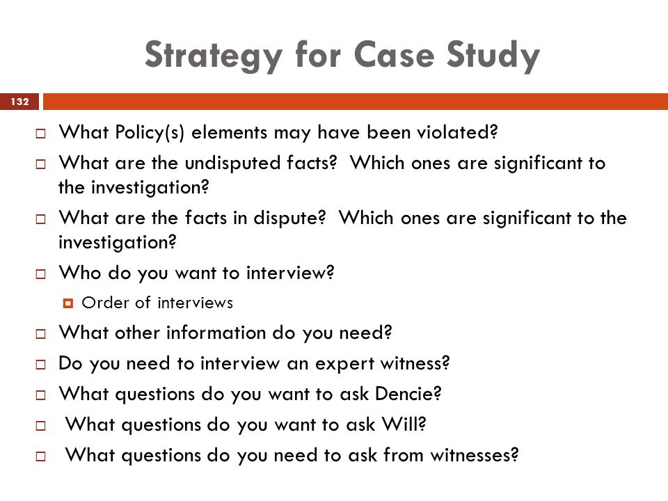 Strategy for Case Study