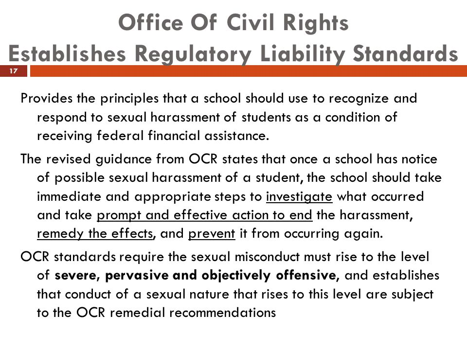 Office Of Civil Rights Establishes Regulatory Liability Standards