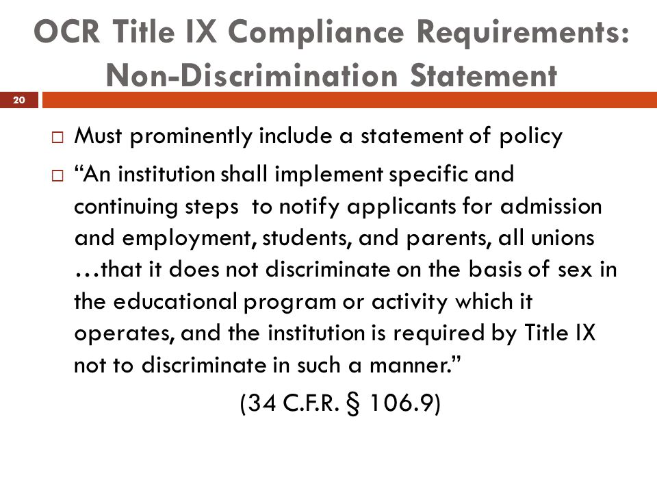OCR Title IX Compliance Requirements: Non-Discrimination Statement