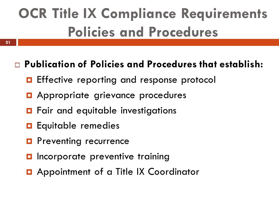 OCR Title IX Compliance Requirements Policies and Procedures
