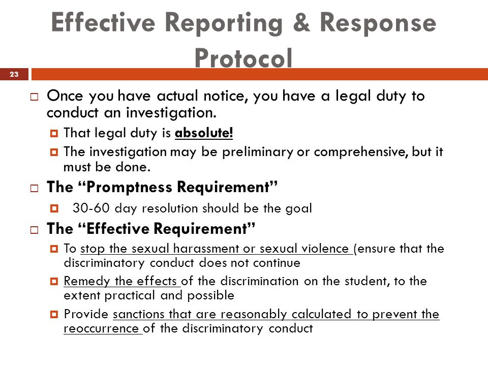 Effective Reporting & Response Protocol