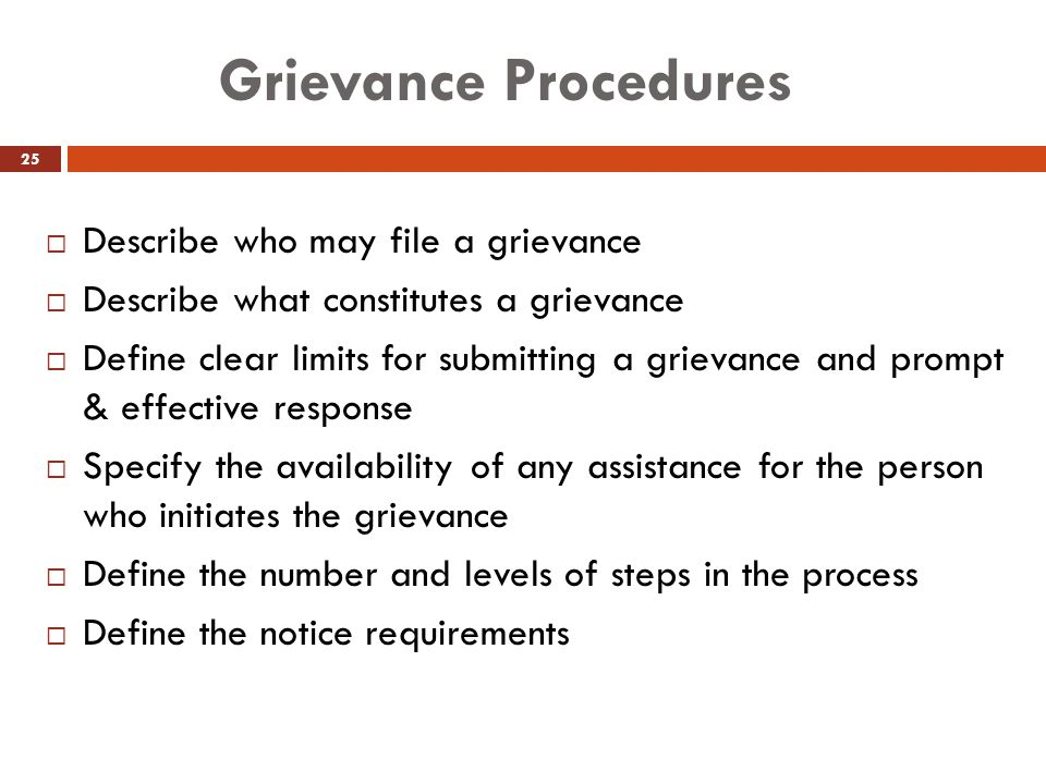 Grievance Procedures Describe who may file a grievance