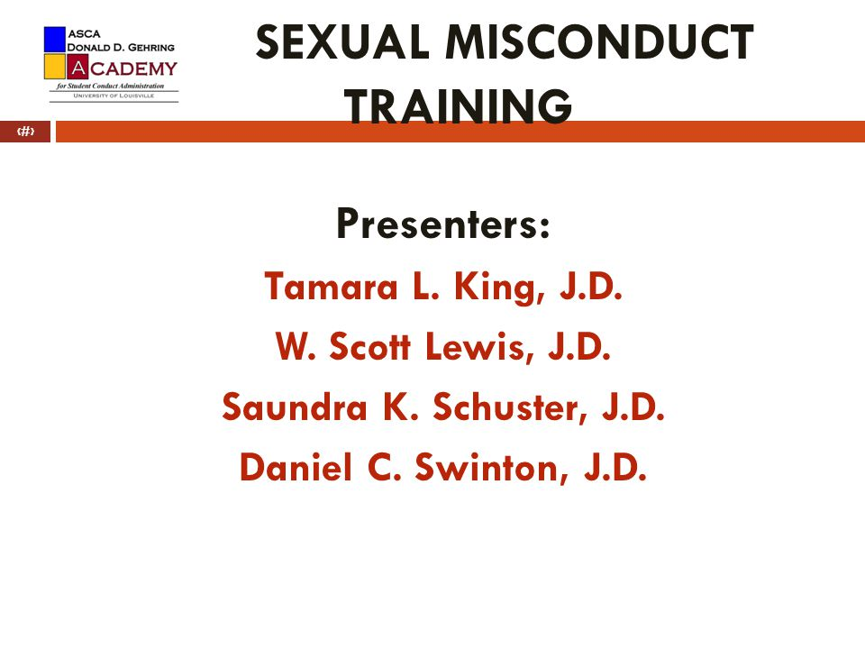 SEXUAL MISCONDUCT TRAINING
