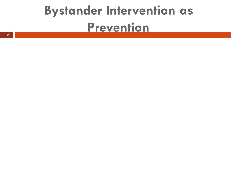 Bystander Intervention as Prevention