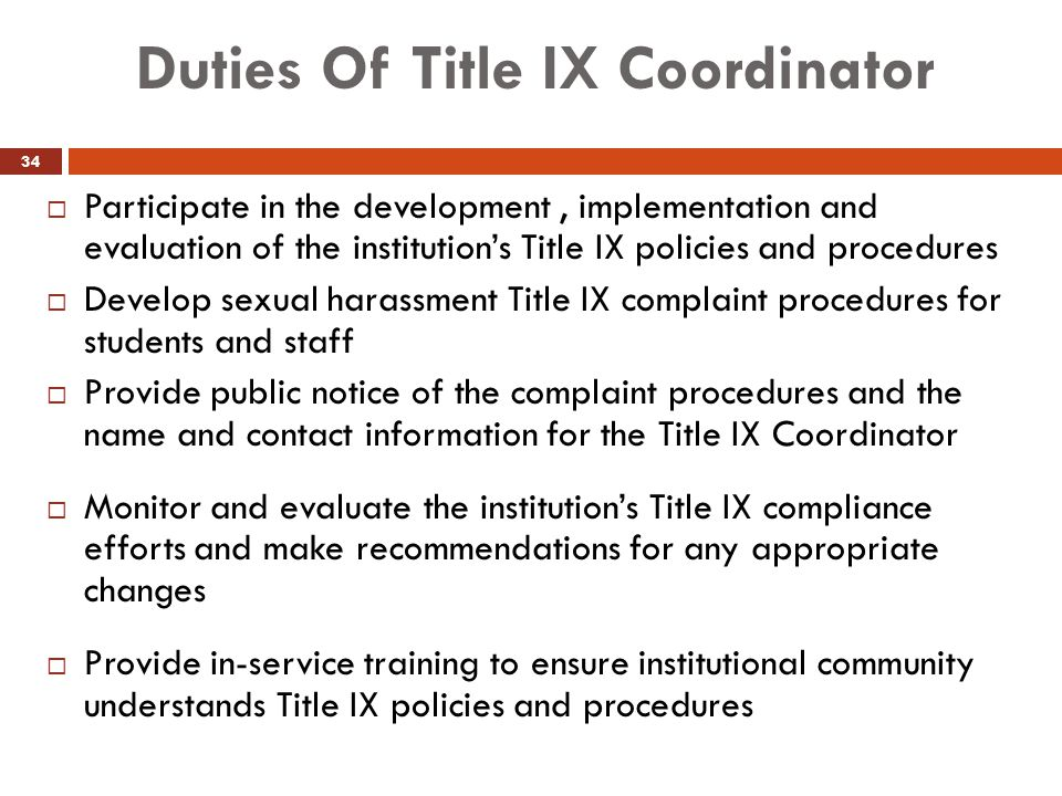 Duties Of Title IX Coordinator